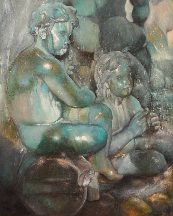Art Fine Art Print featuring the painting Fuente Girondins-Detalle by Tomas Castano