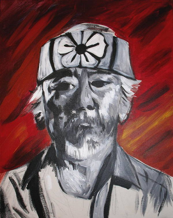 Portrait Art Print featuring the painting Mr. Miyagi by Kate Fortin