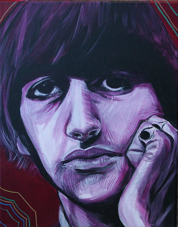 Beatles Art Print featuring the painting Ringo Star by Kate Fortin