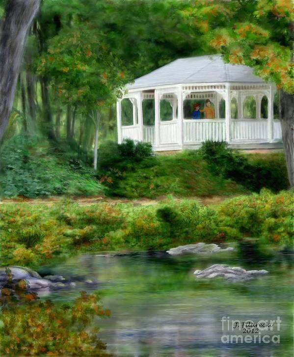 Riverside Art Print featuring the painting Riverside Gazebo by Judy Filarecki