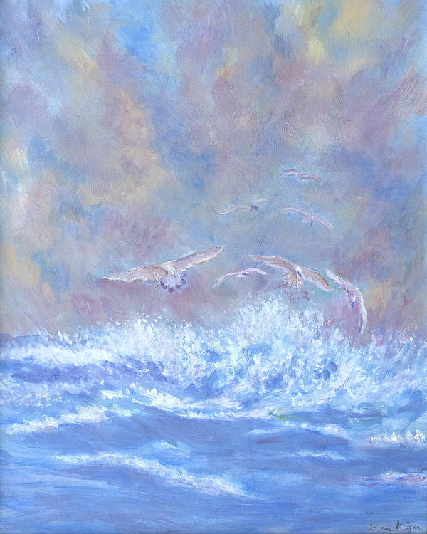 Seascape Art Print featuring the painting Seagulls at Play by Ben Kiger