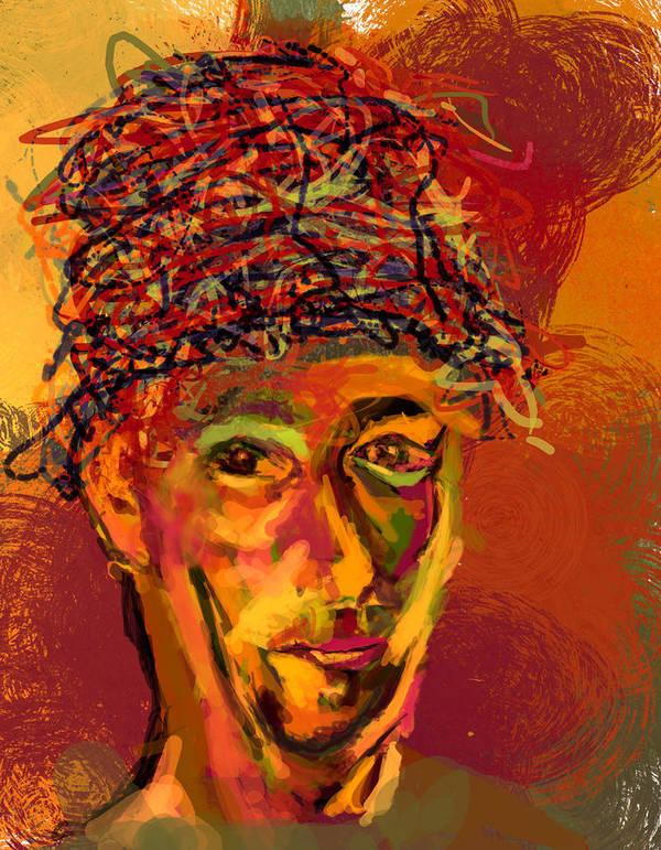 Stu Art Print featuring the digital art Stu's Funny Hat by James Thomas