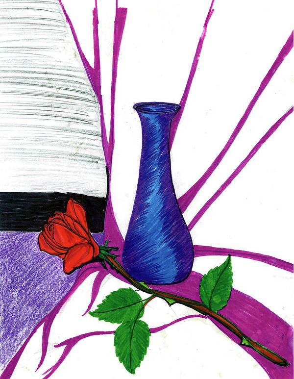 Art Print featuring the drawing Vase by Harry Richards