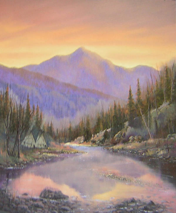 Landscape Art Print featuring the painting 060526-2024 Times Past  by Kenneth Shanika