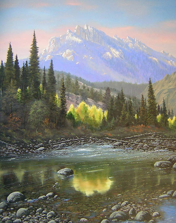 Landscape Art Print featuring the painting 060409-2430 Long Scraggy Mountain - Reflections  by Kenneth Shanika