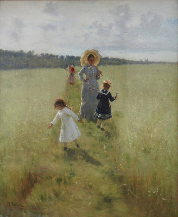 Ilya Repin Art Print featuring the painting At the Boundary by Ilya Repin