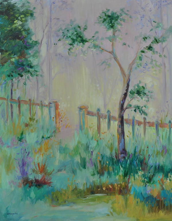 Garden Art Print featuring the painting Garden and Beyond by Ginger Concepcion