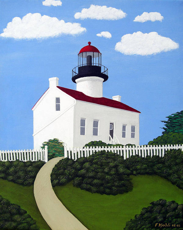 Lighthouse Paintings Art Print featuring the painting Old Point Loma Lighthouse by Frederic Kohli