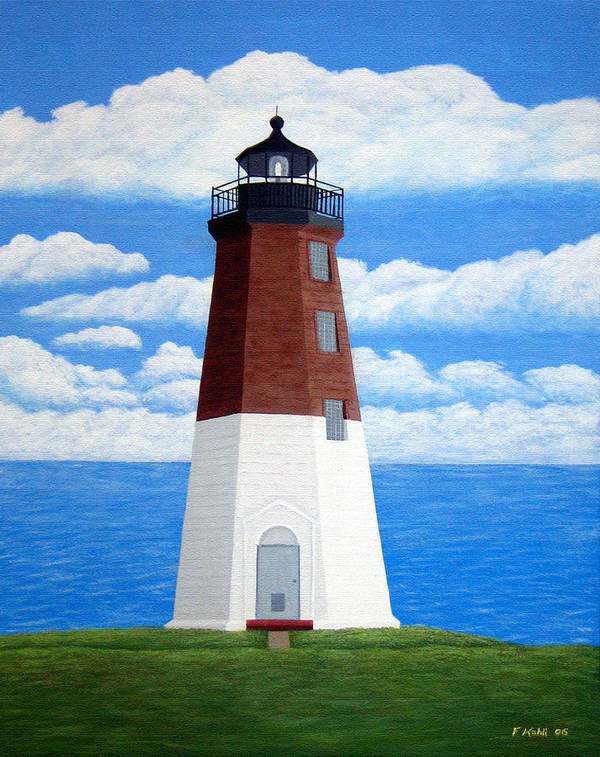 Lighthouse Paintings Art Print featuring the painting Point Judith Lighthouse by Frederic Kohli