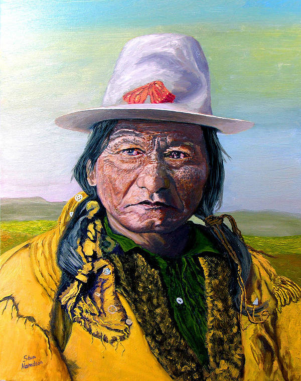 Original Oil On Canvas Art Print featuring the painting Sitting Bull by Stan Hamilton