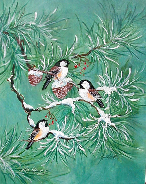 Birds;chickadees;pine;pine Cones;snow;winter; Art Print featuring the painting Three Little Chickadees in Pine by Lois Mountz