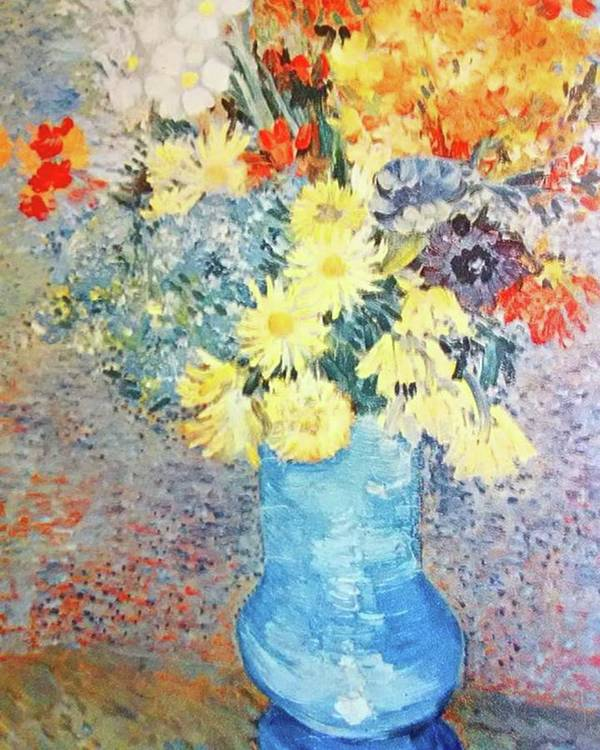 Van Gogh Art Print featuring the photograph Flowers In Blue Vase by Van Gogh
