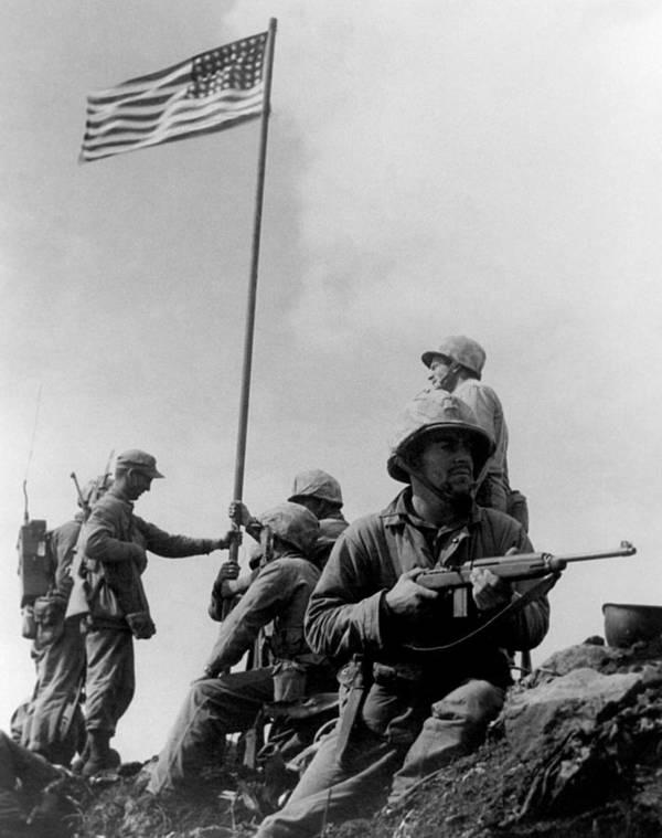 Iwo Jima Art Print featuring the photograph 1st Flag Raising On Iwo Jima by War Is Hell Store