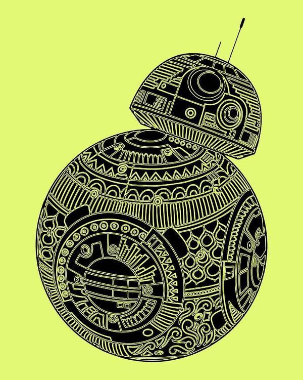 Star Wars BB8 Movie Poster Art Print Black /& White Card or Canvas
