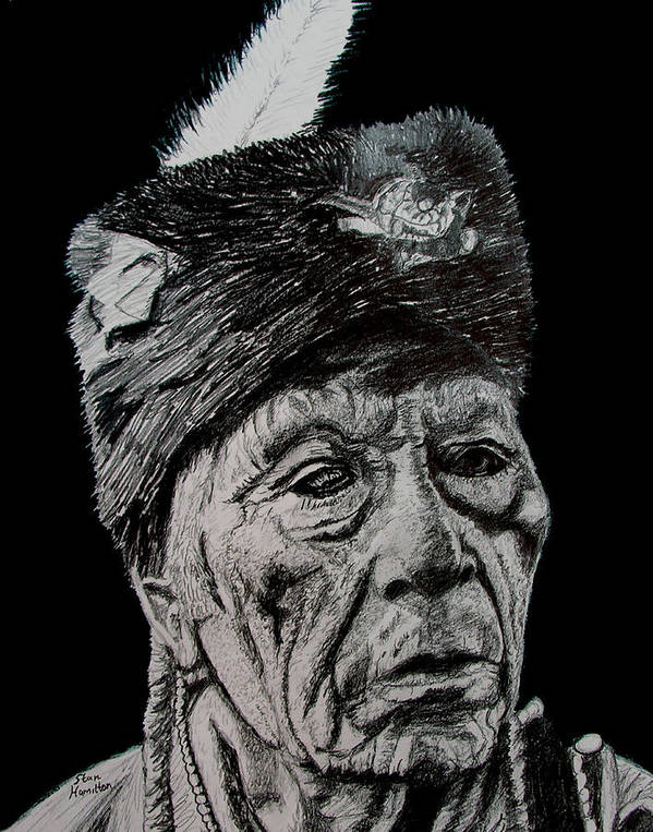 Pencil Art Print featuring the drawing Unknown Indian III by Stan Hamilton