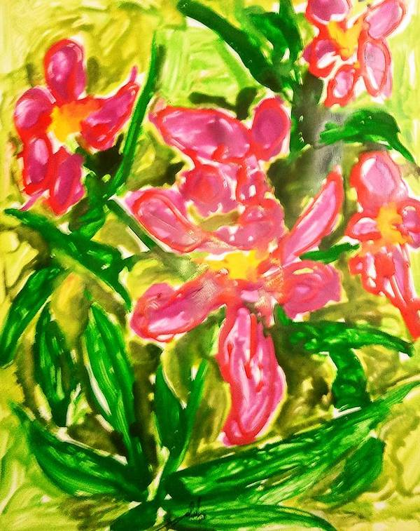 Abstract Art Print featuring the painting Divine Flowers by Baljit Chadha