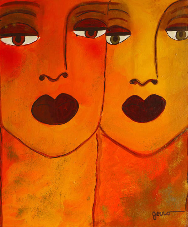 Faces Artwork Art Print featuring the painting Cayenne by Helen Gerro