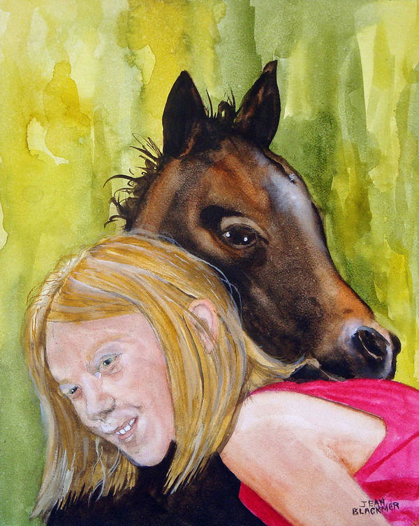 Equine Art Print featuring the painting A Little Girl's Fancy by Jean Blackmer