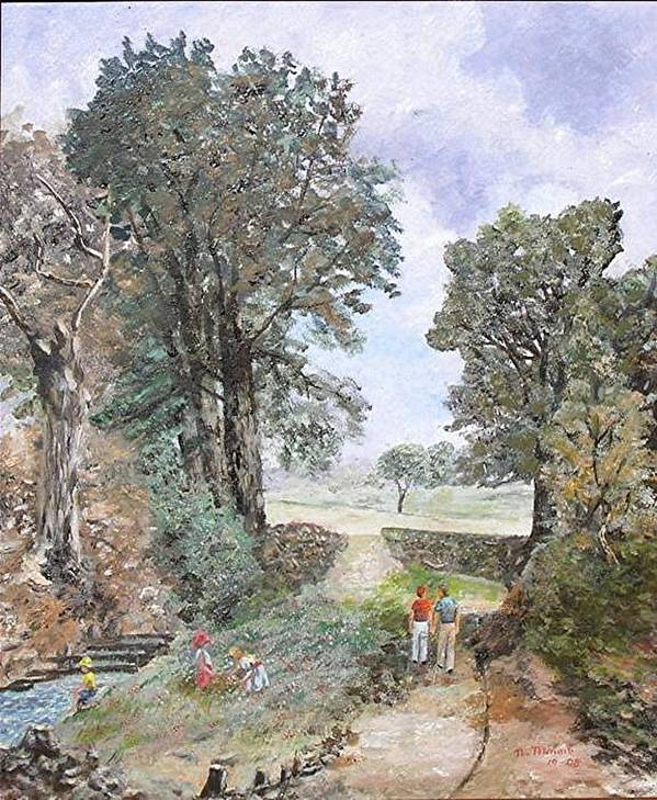 Landscape Painting Art Print featuring the painting A walk in the woods by Nicholas Minniti