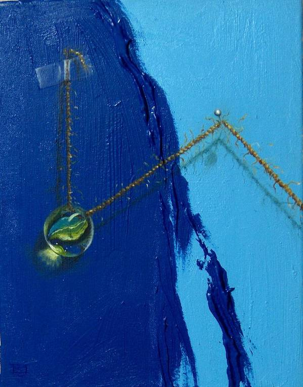 Marble Hanging By Rope Held By Tape And Needle Art Print featuring the painting Acrobatics number two by Roger Calle