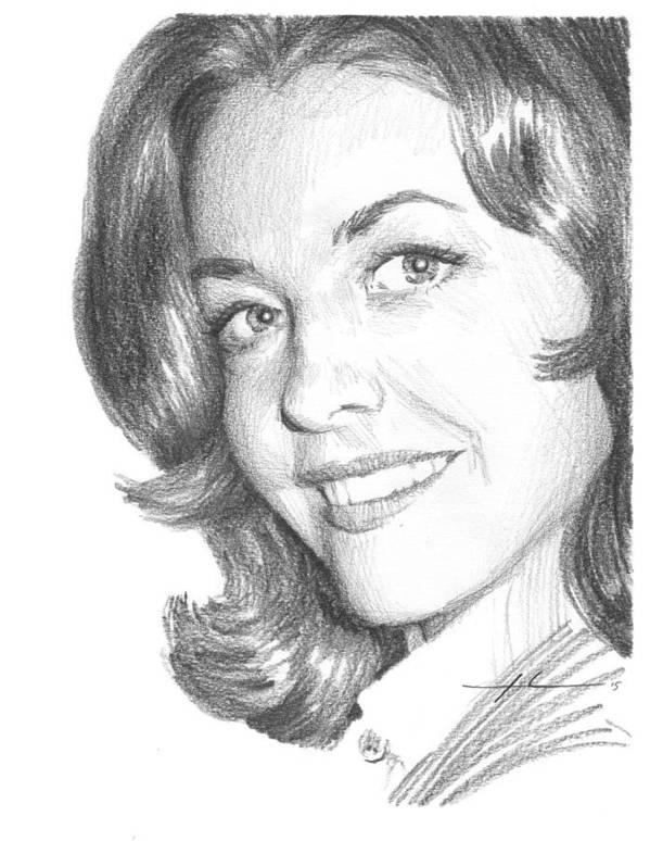 <a Href=http://miketheuer.com Target =_blank>www.miketheuer.com</a> Ctress Myrna Fahey Closeup Pencil Portrait Art Print featuring the painting Actress Myrna Fahey Closeup Pencil Portrait by Mike Theuer