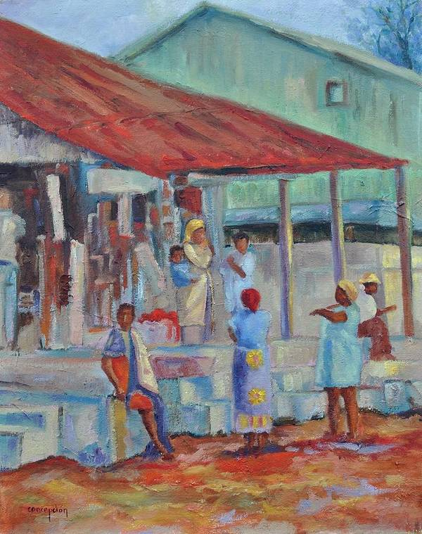 African Market Art Print featuring the painting African Market by Ginger Concepcion