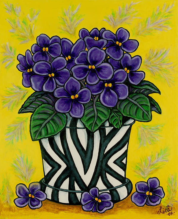 Violets Art Print featuring the painting African Queen by Lisa Lorenz