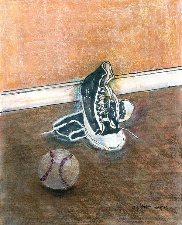 Tennis Shoes Art Print featuring the mixed media After The Game by Arline Wagner