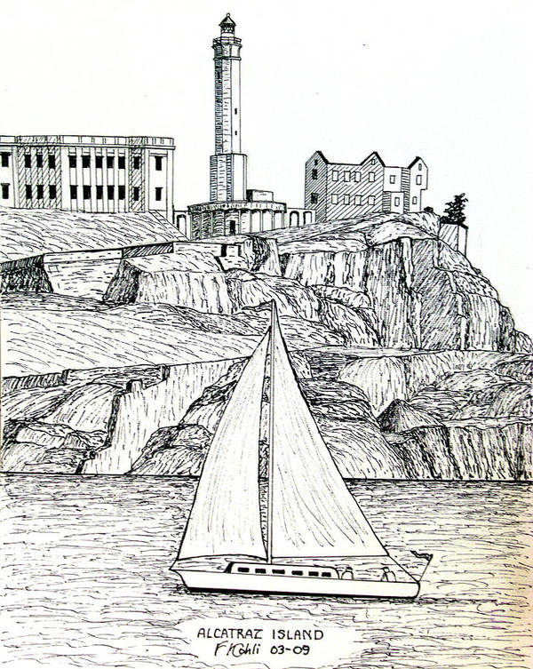 Pen And Ink Lighthouse Drawings Art Print featuring the drawing Alcatraz Island by Frederic Kohli