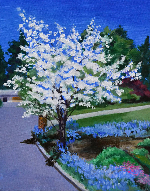Apple Tree Art Print featuring the painting Apple Tree in Spring by Mary Chant