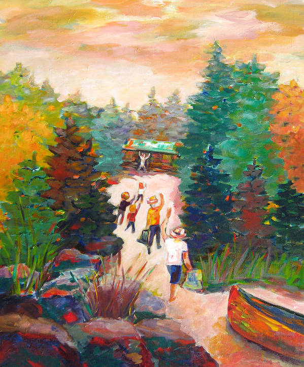 Visiting A Wilderness Cabin With Family On The Lake With A Canoe Is Just Plain Fun! Art Print featuring the painting Arrivals by Naomi Gerrard