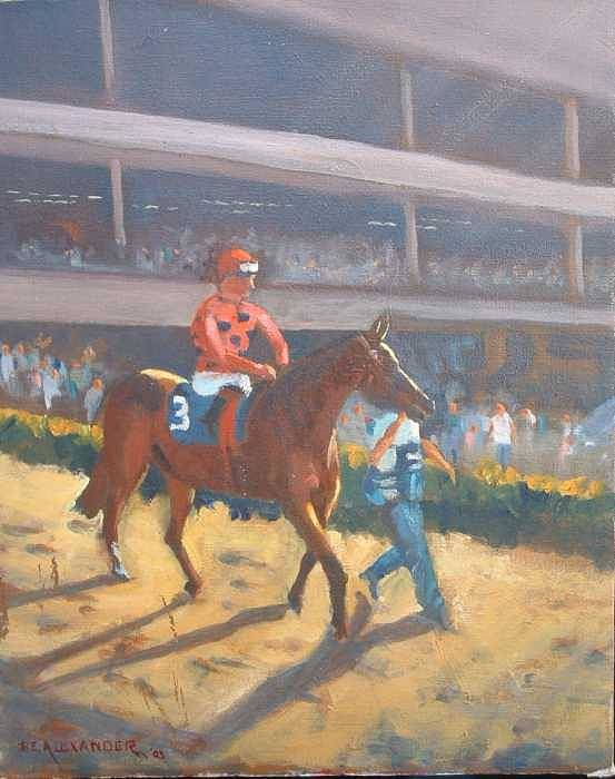 The Horses Are Approaching The Track For The Feature Race Of The Day...no. 3 Azari... Art Print featuring the painting AZARI a sure winner by Bryan Alexander