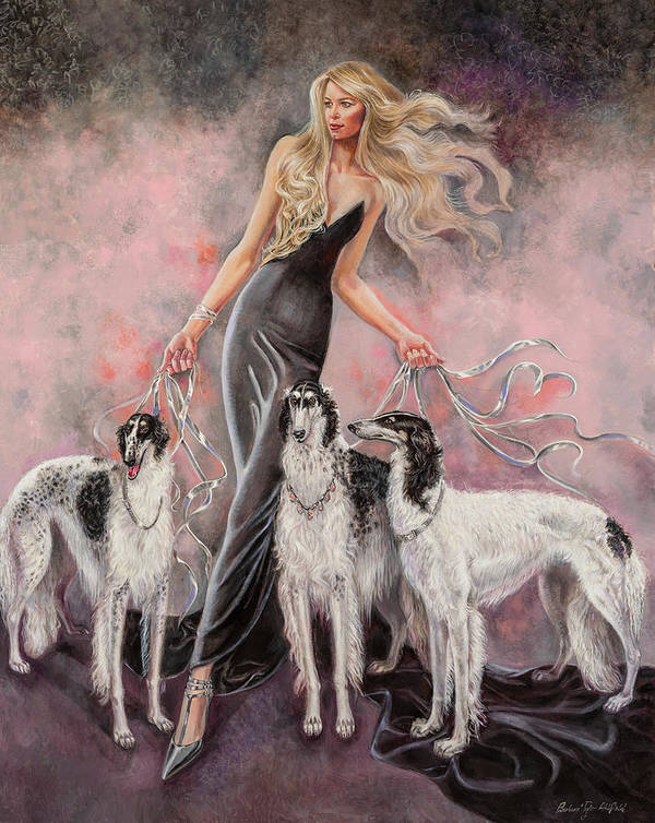 Barbara Tyler Ahlfield Art Print featuring the painting Babs with Three Borzois by Barbara Tyler Ahlfield
