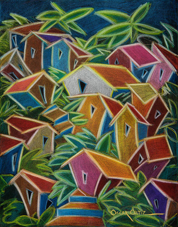 Landscape Art Print featuring the painting Barrio Lindo by Oscar Ortiz
