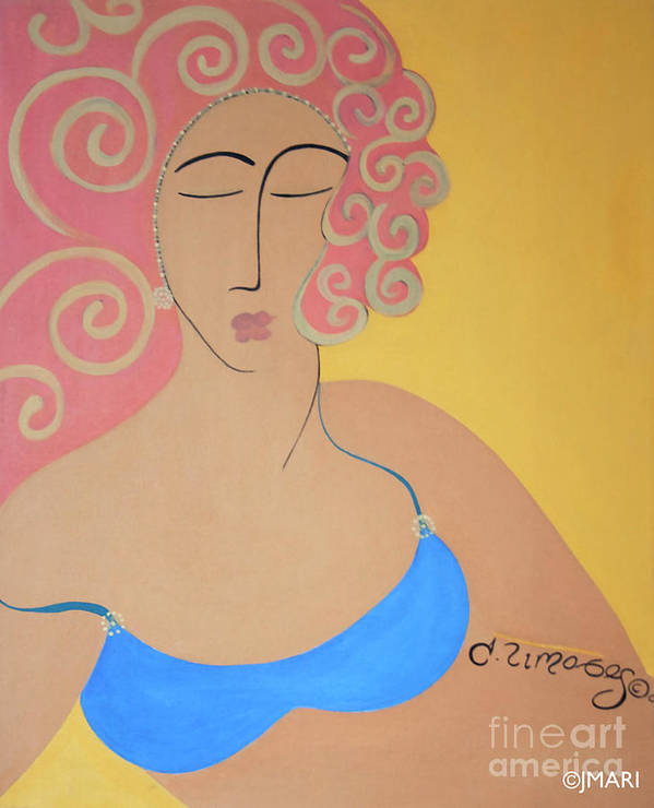 #female Art Print featuring the painting Bathing Beauty by Jacquelinemari