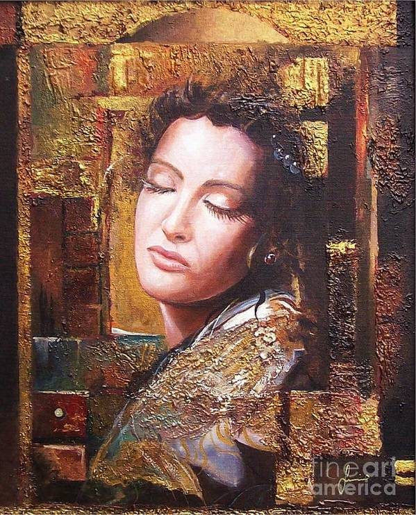 Female Portrait Art Print featuring the painting Because You Are Beautiful by Sinisa Saratlic