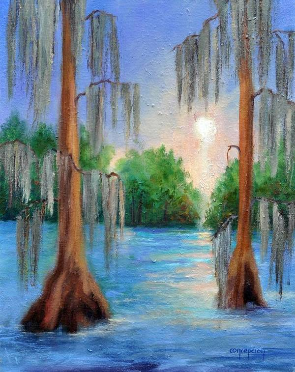 Bayou Landscape Art Print featuring the painting Blue Bayou by Ginger Concepcion