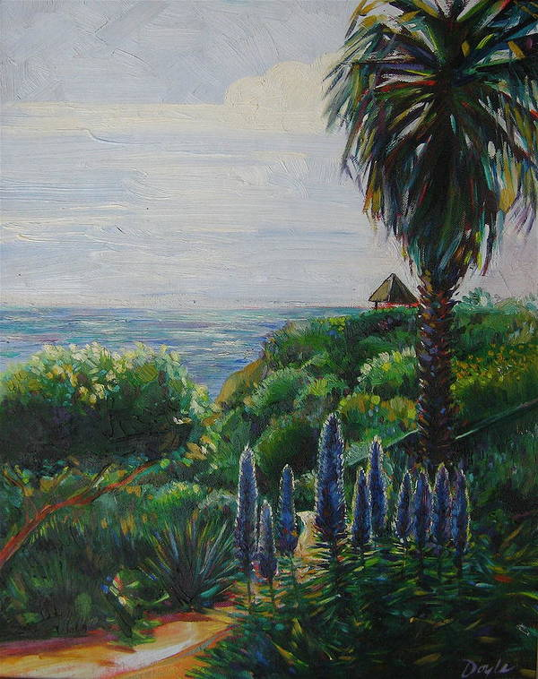 Beach Art Print featuring the painting Blue Flowers by Karen Doyle