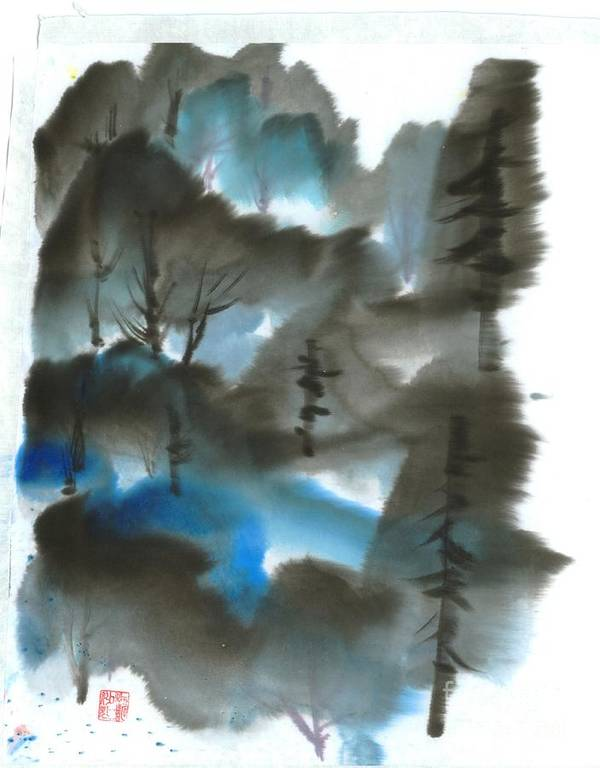 A Forest With A Tint Of Blue. This Is A Contemporary Chinese Ink And Color On Rice Paper Painting With Simple Zen Style Brush Strokes.  Art Print featuring the painting Blue Forest by Mui-Joo Wee