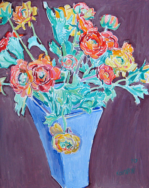 Blue Art Print featuring the painting Blue vase with flowers by Vitali Komarov