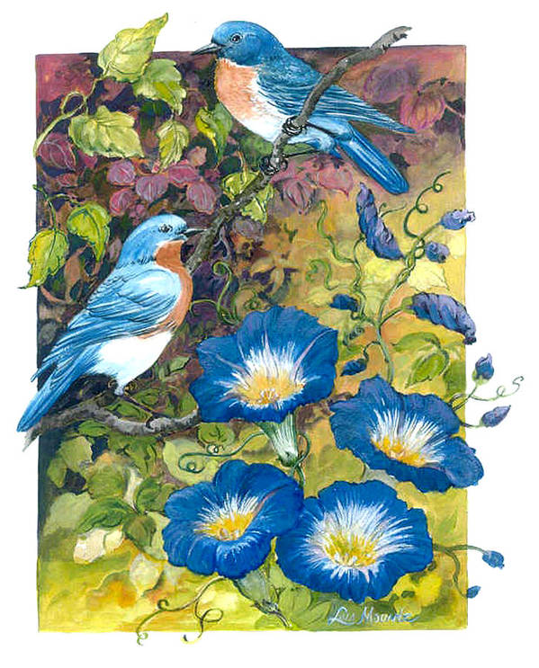 Bluebirds;birds;morning Glories;watercolor; Art Print featuring the painting Bluebirds and Morning Glories by Lois Mountz