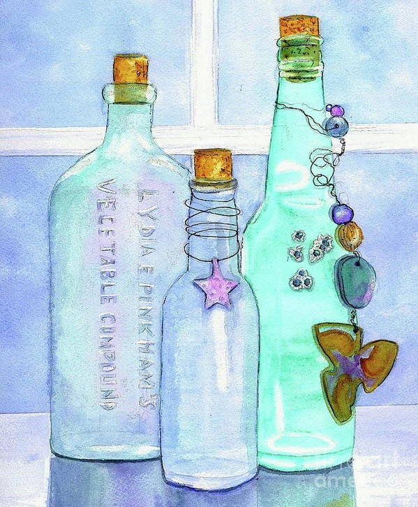 Bottles Art Print featuring the painting Bottles With Barnacles by Midge Pippel