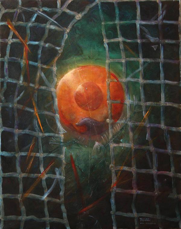 Orange Art Print featuring the painting Breakthrough by Darko Topalski