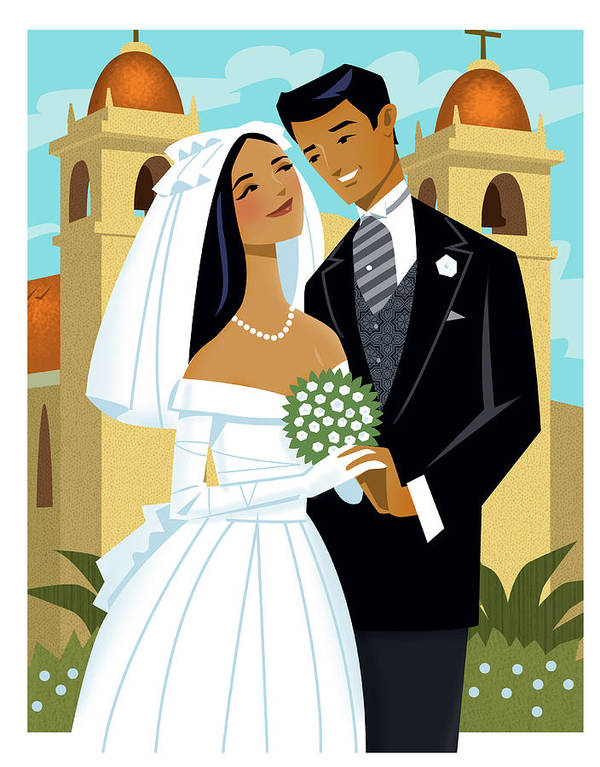 Adult Art Print featuring the digital art Bride And Groom by Harry Briggs