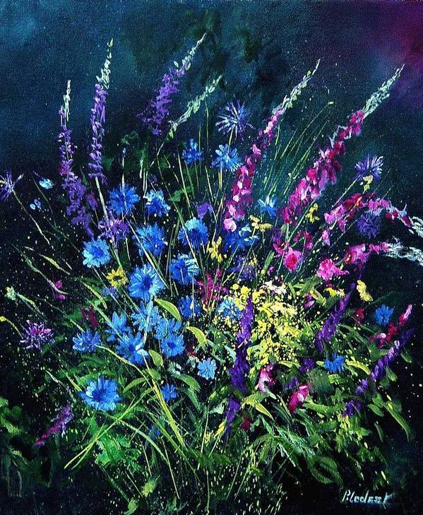 Poppies Art Print featuring the painting Bunch Of Wild Flowers by Pol Ledent