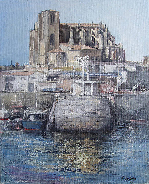 Castro Art Print featuring the painting Castro Urdiales by Tomas Castano