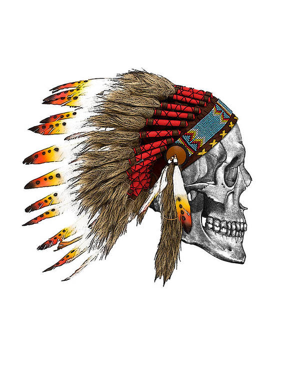 Indian Art Print featuring the digital art Chief headdress on human skull native american art by Madame Memento