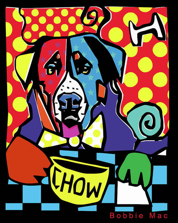 Dog Art Print featuring the painting 'chow' by Bobbie Mac