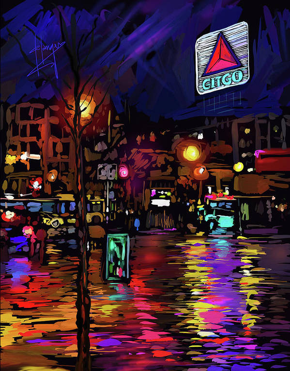 Citgo Sign Art Print featuring the painting Citgo Sign, Boston by DC Langer