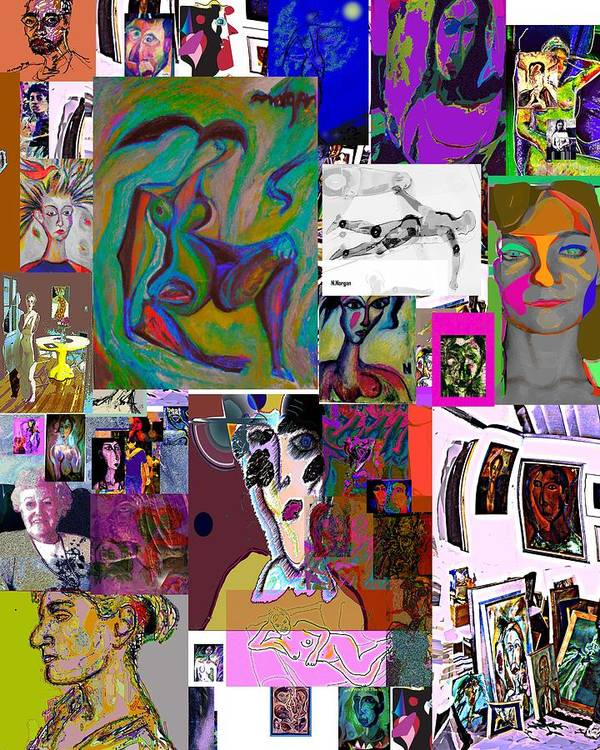 Collage Art Print featuring the painting Collage 9 by Noredin Morgan